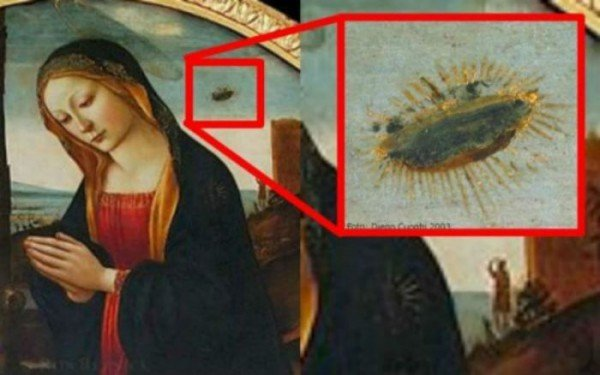 UFOs In A Painting Of Virgin Mary